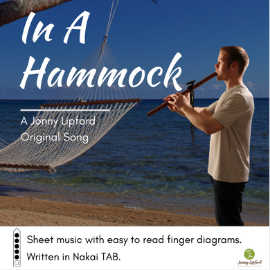 Jonny Lipford standing on a beach playing his Native American flute. This is the cover image for the sheet music for Native American flute song In A Hammock