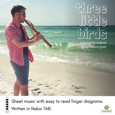 Jonny Lipford standing on the beach in Florida while playing a Native American flute. This is the product image for a download Nakai Tablature for Three Little Birds by Bob Marley.