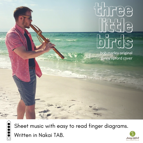 Jonny Lipford standing on the beach in Florida while playing a Native American flute. This is the product image for a downloadable Native American flute sheet music in Nakai Tablature for the song Three Little Birds by Bob Marley.