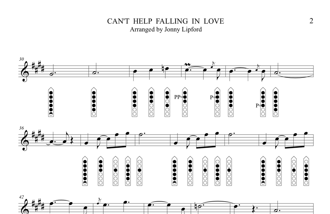 Can't Help Falling In Love - Sheet Music for Native American Flute [PDF]