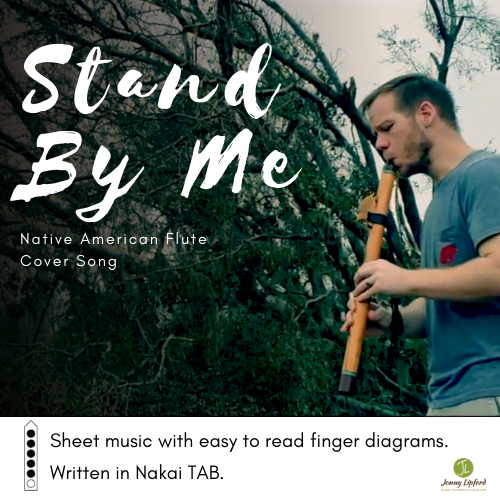 Jonny LIpford standing in front of a fallen tree after hurricane Michael with his Native American flute. This is the image for the sheet music for Native American flutes Nakai Tablature for Stand by Me.