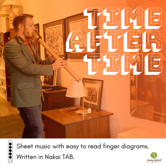 Cover image for the song Time After Time played on the Native American flute by Jonny Lipford shows him in front of a mirror playing his Native American flute with the words