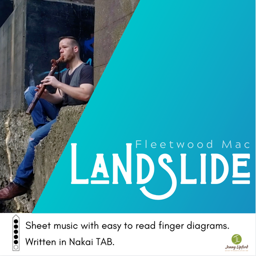 Jonny Lipford playing his Native American flute under a bridge in Iowa showcasing the cover art for the sheet music and Nakai Tablature for Landslide by Fleetwood Mac