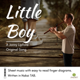"Jonny Lipford shown playing his Native American flute overlayed on an image of a boy's shoe. This is the product image for the Sheet music to ""Little Boy"""