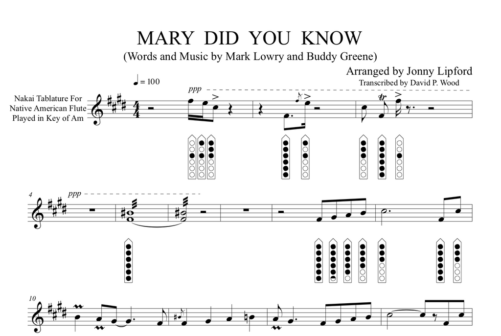 Mary Did You Know - Sheet Music for Native American Flute PDF – Jonny Lipford Music