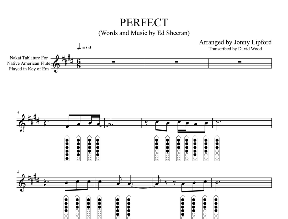 Perfect - Sheet Music for Native American Flute [PDF]