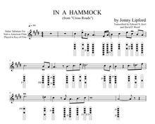 Native American flute sheet music showing finger diagrams and Nakai TAB on In A Hammock, a Jonny Lipford song for Native American Flutes