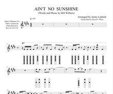 "Native American Sheet music with diagrams for the song ""Ain't No Sunshine"" by Bill Withers"