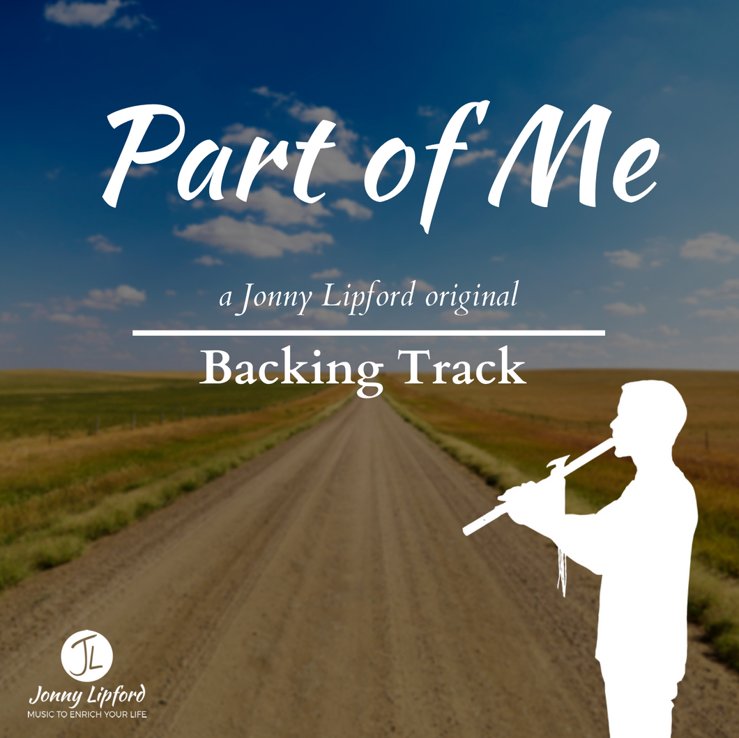 A silhouette of Jonny Lipford standing in front of a dirt road playing his Native American flute. This is the feature image for the product containing a Native American flute Backing Track to Part of Me by Jonny Lipford.