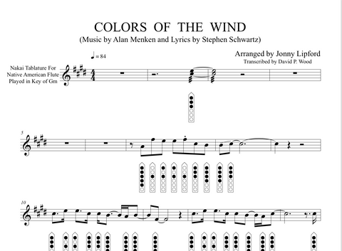 Colors of the Wind - Sheet Music for Native American Flute [PDF]