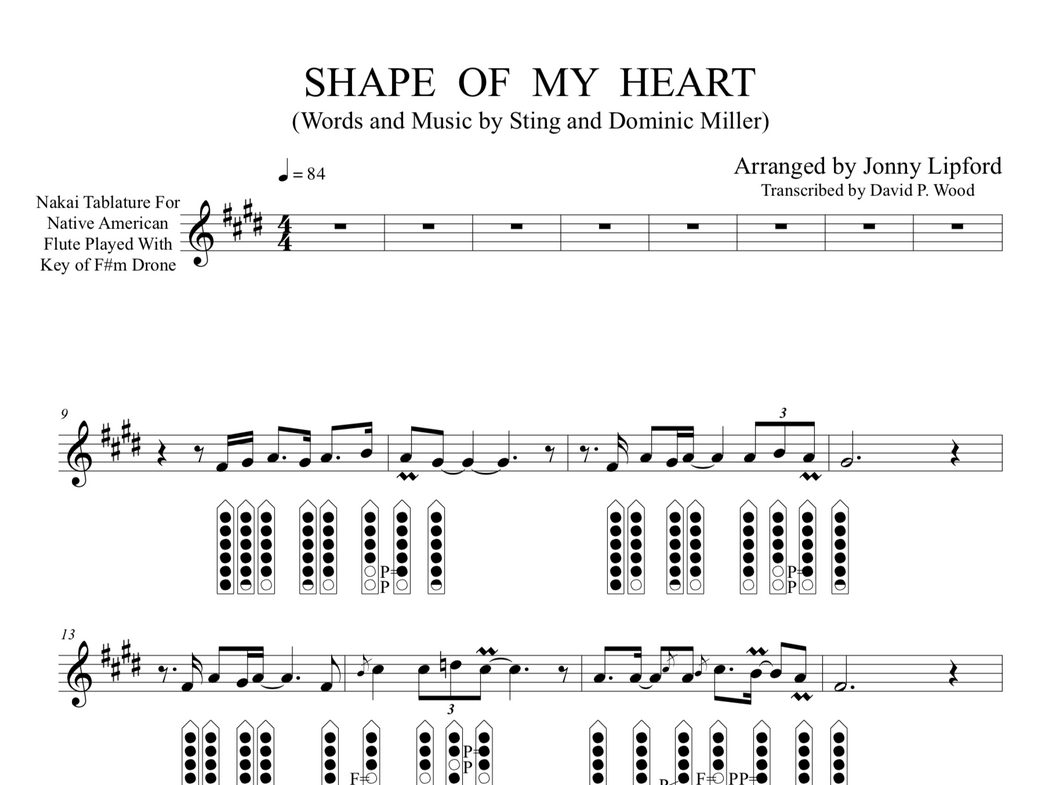 Shape of My Heart - Sheet Music for Native American Flute [PDF]