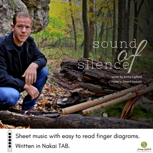 Jonny Lipford kneeling with his Native American Flutes in the woods to show the cover of Sound Of Silence Sheet music transcribed in Nakai TAB for flute players