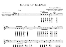 Nakai tablature sheet music for Sound of Silence for Native American flute. Showing flute diagrams.