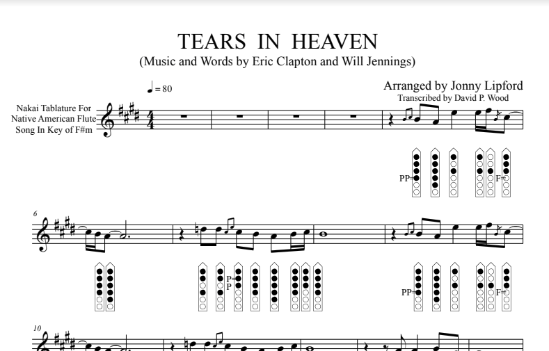 Tears in Heaven - Sheet Music for Native American Flute [PDF]
