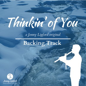 A silhouette of Jonny Lipford playing his Native American flute in front of a frozen river. This is the product image for native american flute backing tracks to Thinkin' of You, and original Native american flute song by Jonny Lipford.
