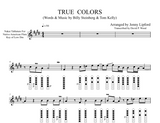Native american flute sheet music written in Nakai Tablature with finger diagrams for the song True Colors