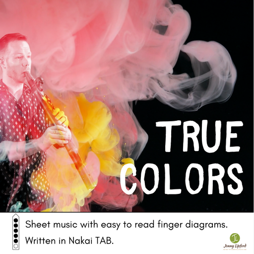 Jonny Lipford standing in a cloud of pink and yellow ink for the cover of True Colors Sheet Music for native american flutes written in Nakai Tablature with finger diagrams