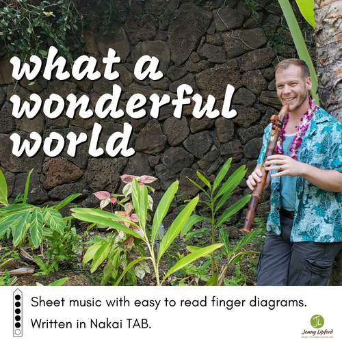 Jonny Lipford leaning against a palm tree in Hawaii showcasing the cover art for What A Wonderful World, written in Nakai TAB for Native American Flutes