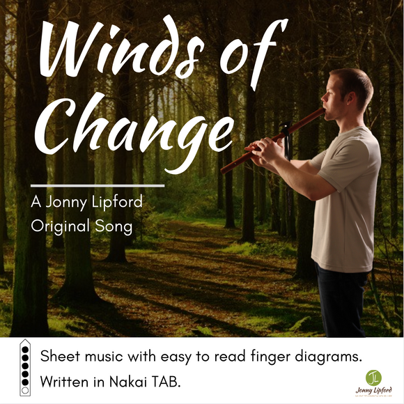 Jonny Lipford standing in the woods playing his Native American flute. This is the cover image for the sheet music for Native American flute song Winds Of Change
