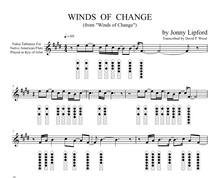Native American flute sheet music showing finger diagrams and Nakai TAB on Winds of Change, a Jonny Lipford song for Native American Flutes