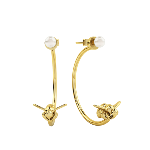 1986 Bee 93˚ 3/4 Moon Earrings with white pearl In yellow gold