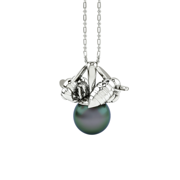 1986 Bee 93° Twin Bee Pendant with 10mm black pearl in Rhodium