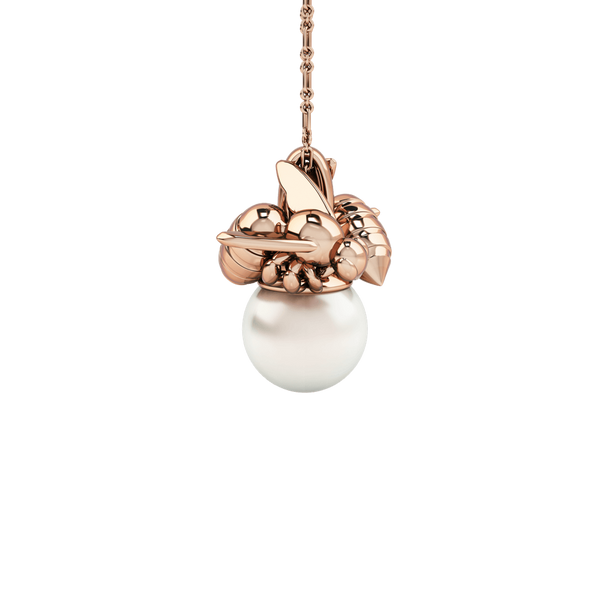 1986 Bee 93° Twin Bee Pendant with 10mm white pearl in Rose Gold