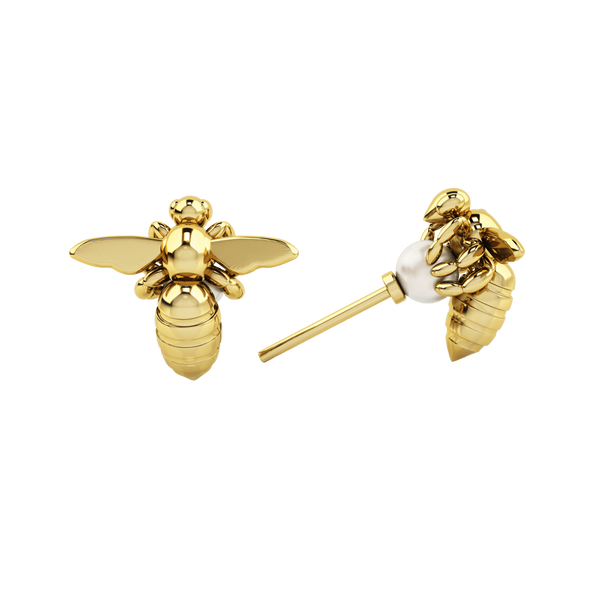 1986 Bee 93° Grab & Go Black Pearl Stud in Yellow Gold