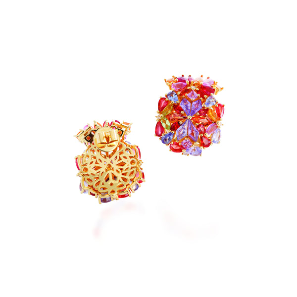 1986 Kaleidoscope Mirage of Colourful Sapphires & 18 karat gold earrings