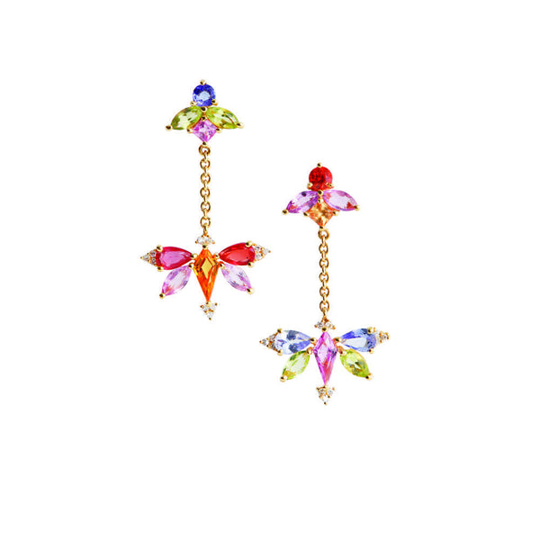 1986 Kaleidoscope Mirage of Colourful Sapphires & 18 karat gold dangling earrings