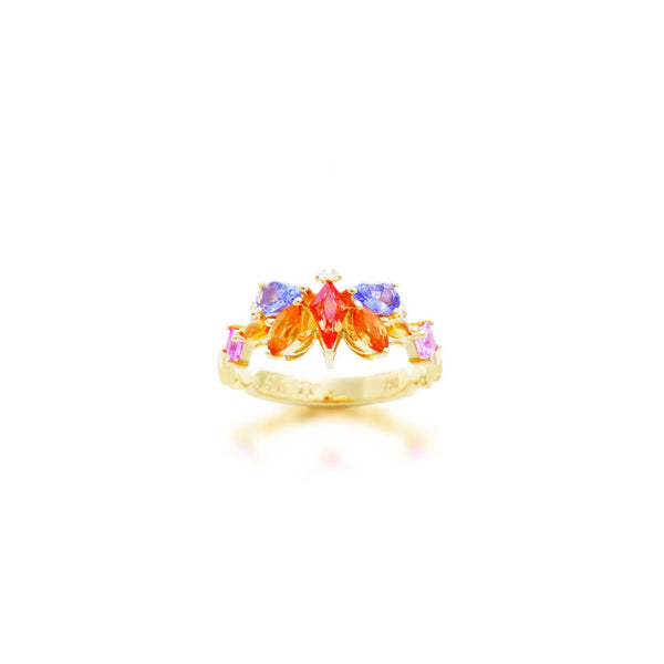 1986 Kaleidoscope Mirage of Colourful Sapphires & 18 karat gold Ring
