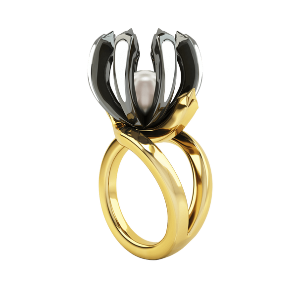 1986 Rebellion Twisted Claw Ring in white enamel in Yellow Gold & Black Rhodium