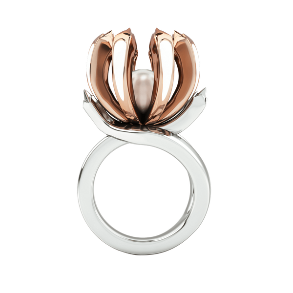 1986 Rebellion Twisted Claw Ring in white enamel in Rose Gold & Rhodium
