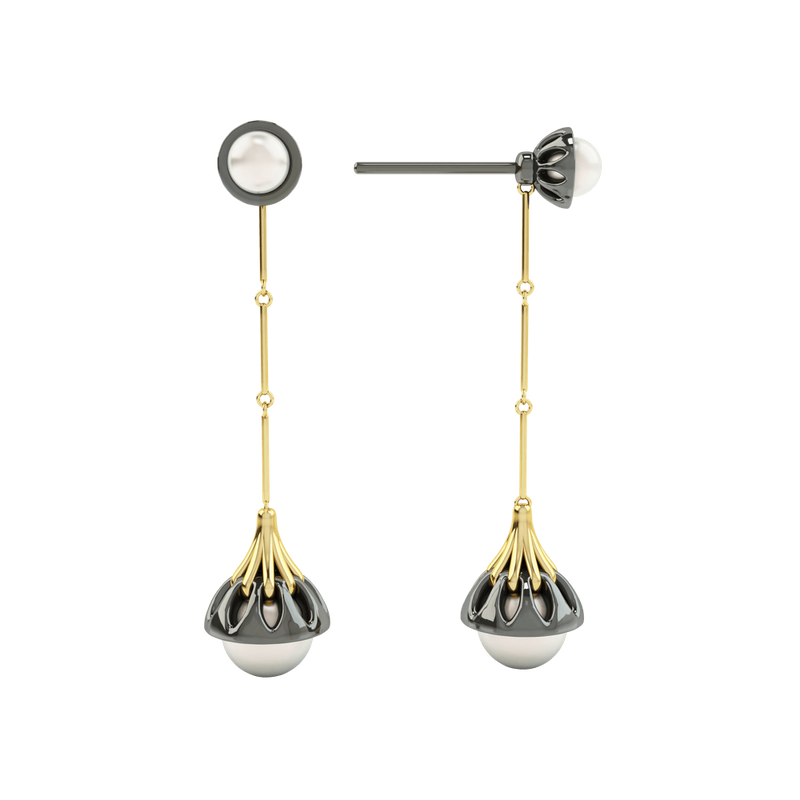 1986 Rebellion Drop Earrings with a pair of 8 and 5 millimetres white Pearls in Yellow gold & Black Rhodium