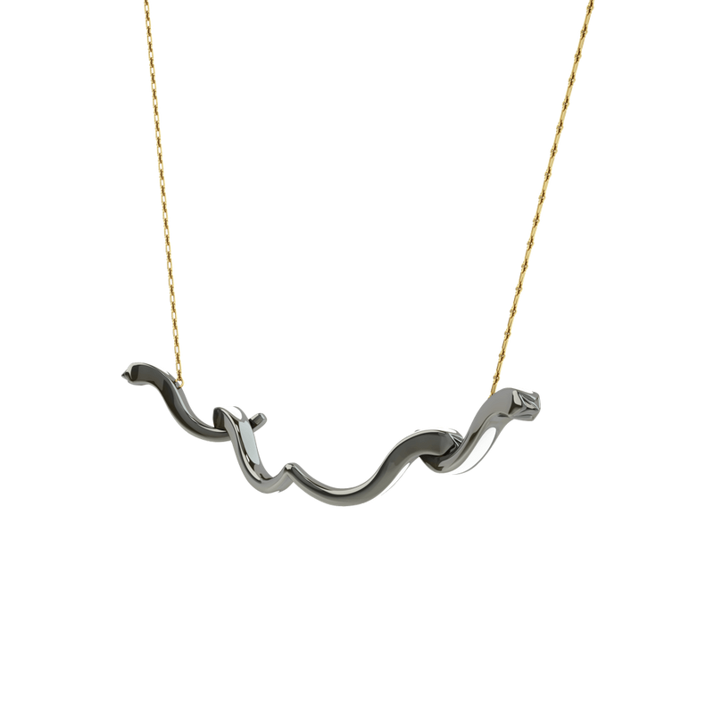 1986 Rebellion Vine Pendant with white enamel in Black Rhodium  & Yellow Gold