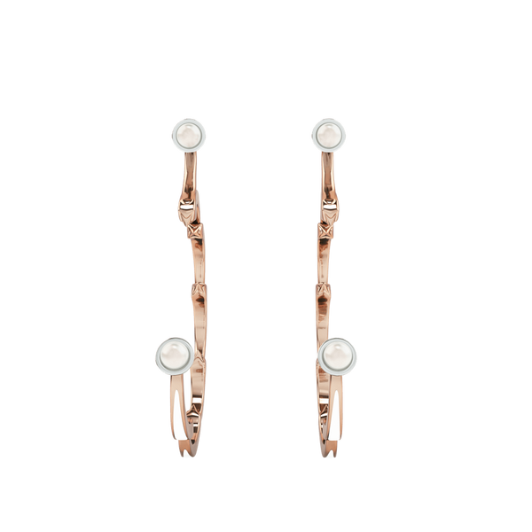 1986 Rebellion 3/4 Moon Earrings with a pair 5 millimetres of white pearls in Rose Gold & Rhodium