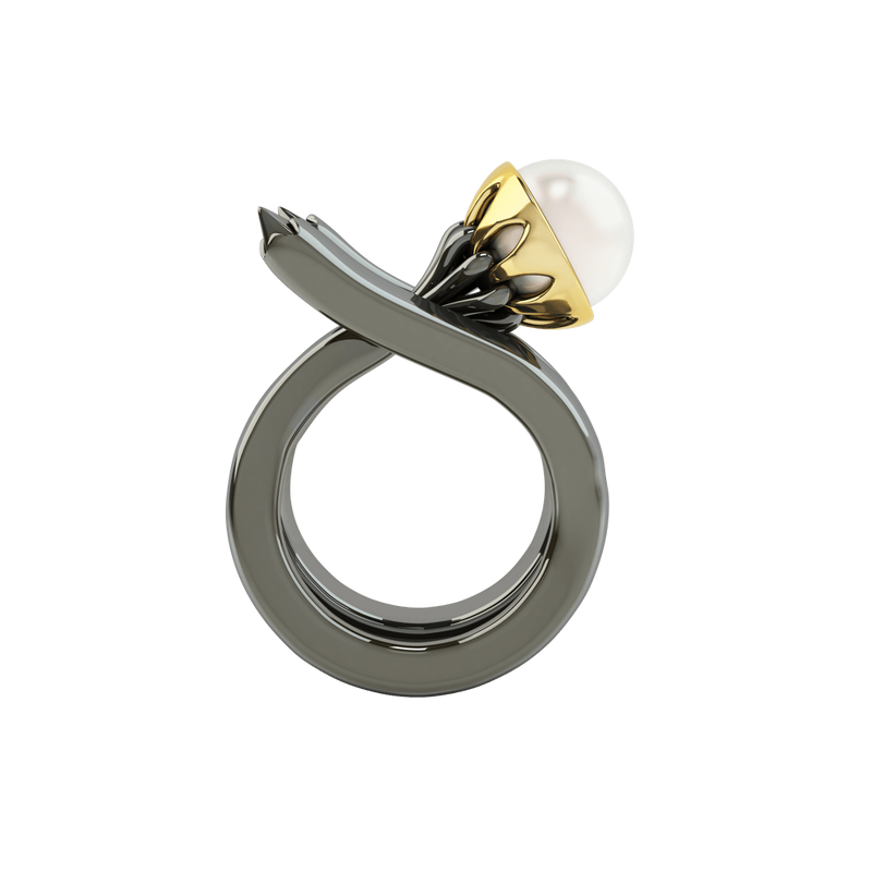 1986 Rebellion Mirror Ring with 8 millimetre white pearl in Black Rhodium & Yellow gold