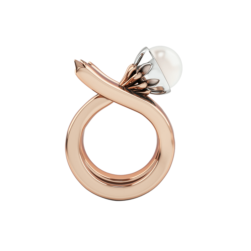 1986 Rebellion Mirror Ring with 8 millimetre white pearl in Rose Gold & Rhodium