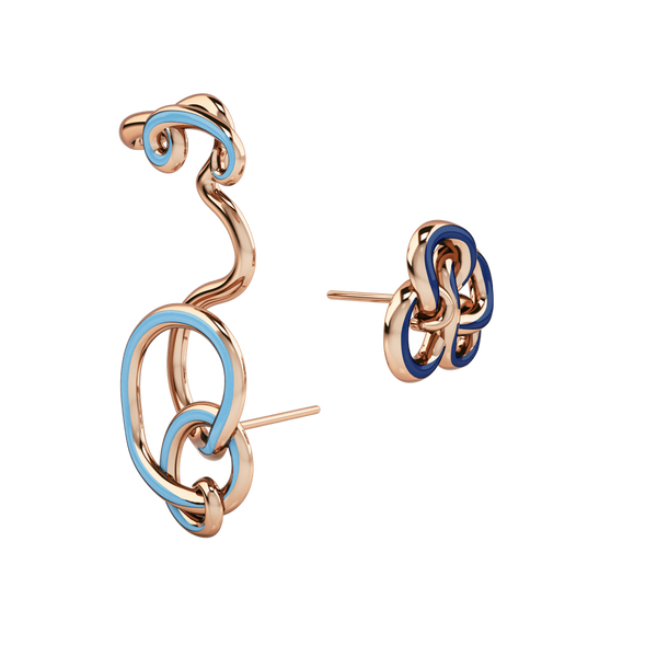 1986 Wiggle Wiggle Twist & Hug Royal Blue Enamel & Rose Hook on Earring Pairing with Stud earrings