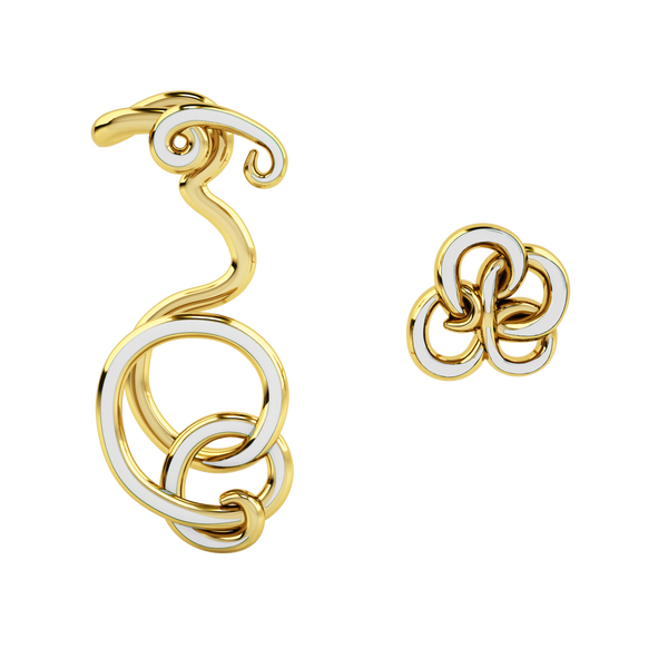 TWIST & HUG CLOUD WHITE & GOLD EARRING