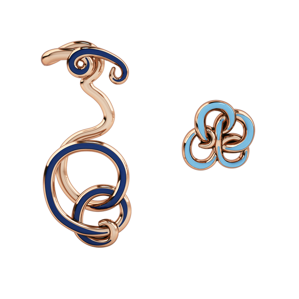 Wiggle Wiggle Twist & Hug Royal Blue Enamel & Rose Gold