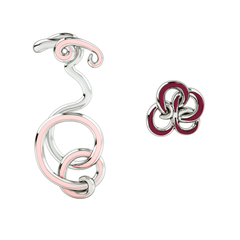 1986 Wiggle Wiggle Twist & Hug Earrings Baby Pink Enamel & Rhodium Earring