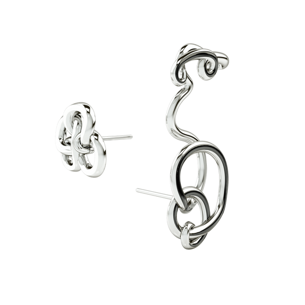1986 Wiggle Wiggle Twist & Hug Earrings Black enamel & Rhodium Earring