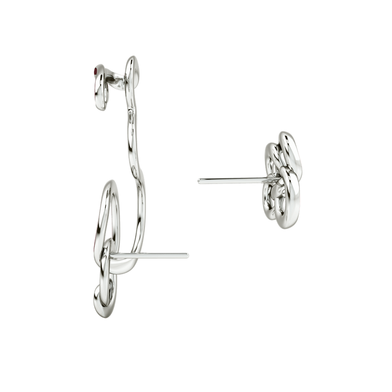 Wiggle Wiggle Twist & Hug Wine Red Enamel & Rhodium Earring