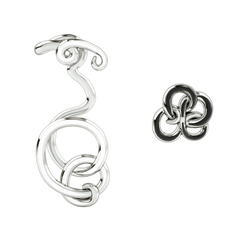 Wiggle Wiggle Twist & Hug Earrings White Enamel & Rhodium Earrings