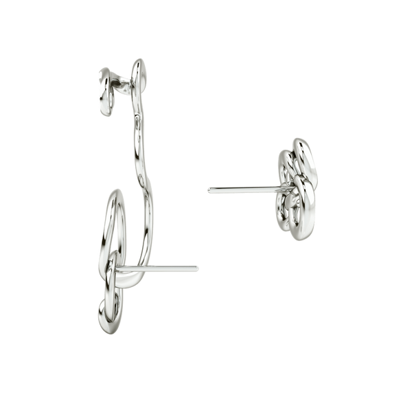 TWIST & HUG WHITE & RHODIUM EARRING
