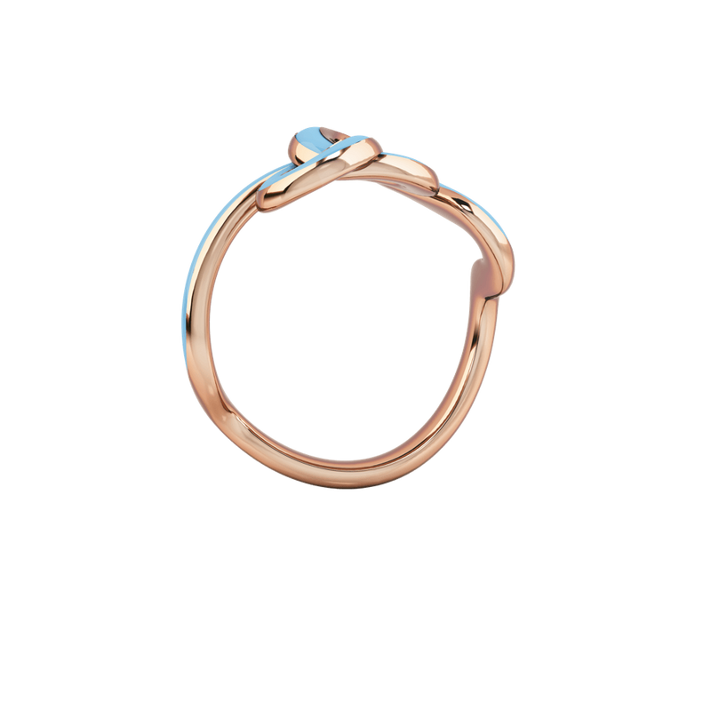 1986 Wiggle Wiggle Knot Baby Blue Enamel & Rose Gold Ring