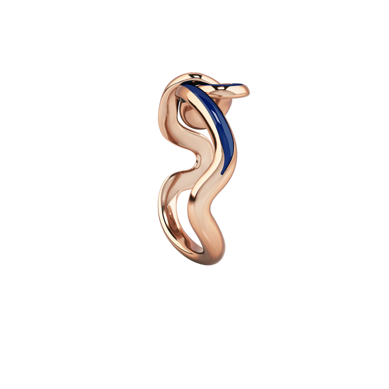 1986 Wiggle Wiggle Knot Royal Blue Enamel & Rose Gold