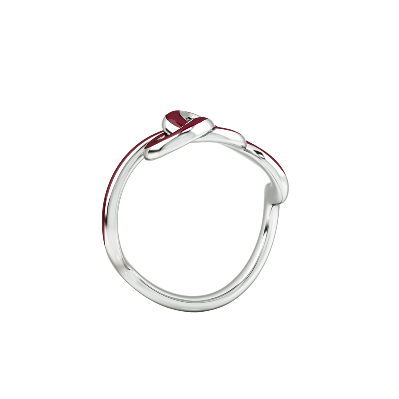 1986 Wiggle Wiggle Knot Wine Red Enamel & Rhodium Ring
