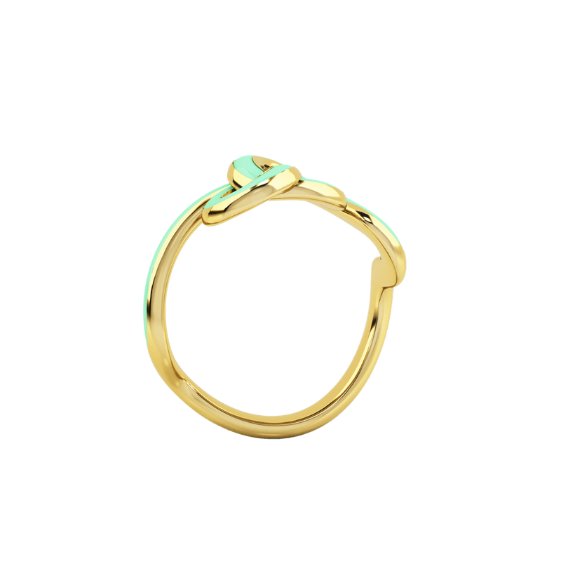 1986 Wiggle Wiggle Knot Baby Green Enamel & Gold Ring